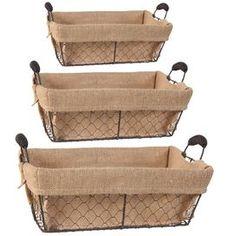 3-Piece Burlap Basket Set