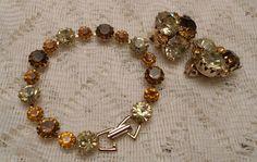 Vintage Rhinestone Bracelet and Earrings Set by ViksVintageJewelry, $24.99