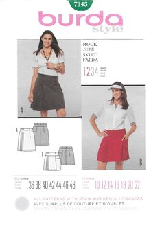 Burda 7345 Misses' Mini Tennis Skirt Sewing Pattern Size 10 to 22 Waist 25 to 36 Hip 34 1/2 to 46 by Denisecraft on Etsy