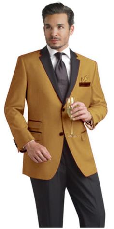 #Two #button #notch w/ #black lapel #Camel #party #suit & #tuxedo & #blazer.$595