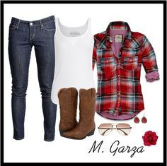 """""""Cowgirl Style #2"""" by maria-garza on Polyvore..would make some changes but overall idea is kool!"""
