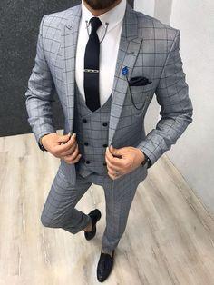 Marc Light Blue Plaid Suit is part of Blue plaid suit - Product Marc Light Blue Plaid Slim Suit Color code LIGHT BLUE Size EU [ 464850525456 ]Suit material Woolen, Polyester Machine washable NoFitting Regular Slim Fit Remarks Dry Cleaning Only Blue Plaid Suit, Grey Suit Men, Blue Suits, Grey Check Suit, Blazer Outfits Men, Stylish Mens Outfits, Casual Outfits, Mens Fashion Suits, Mens Suits