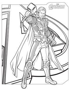 Avengers Character Thor Coloring Page - Download & Print Online ...