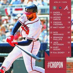 @therealmattkemp is back in the lineup, first pitch at 7:35! #ChopOn