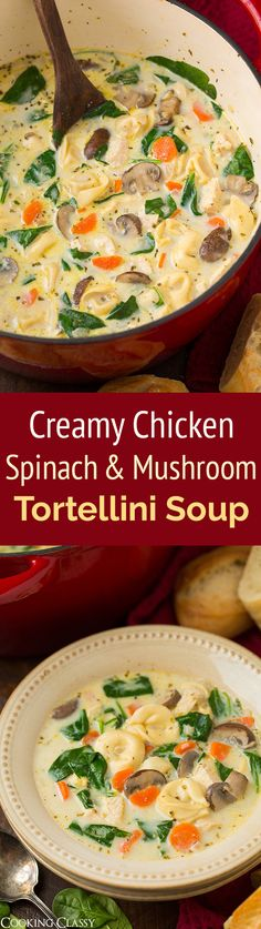 French Delicacies Essentials - Some Uncomplicated Strategies For Newbies Creamy Chicken, Spinach And Mushroom Tortellini Soup - This Hearty, Comforting Soup Does Not Disappoint Definitely A Recipe Worthy Of Your Dinner Rotation Crockpot Recipes, Chicken Recipes, Cooking Recipes, Healthy Recipes, Cooking Ideas, Hearty Soup Recipes, Healthy Soups, Chicken Ideas, Fast Recipes