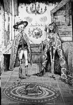 Day of the Dead version of Van Eyck's Marriage of Arnolfini