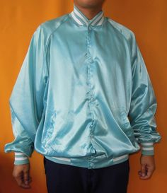 Fall Creek Resort Jacket Varsity Snap Button Down Sport Jacket Vintage 90s Turquoise Jacket (26/04) by InPersona on Etsy