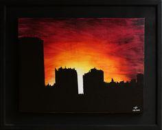 Titre : Urbanisation. Peinture réalisée à la peinture acrylique (Studio) sur toile de lin blanchi (œuvre vernie).  Format (sans cadre) : 34,9 cm x 26,4 cm.  Format (avec cadre) : 46 cm x 37 cm x 2 cm (cadre artisanal en bois avec baguettage en bois, peint à la bombe de peinture)  date de réalisation : 08 / 2014 (œuvre vendue) #urbanisation #urbain #ville #tour #paysage #art #tableau #painting #peinture #moderne