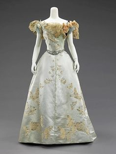House of Worth, pale blue silk gown with butterfly embroidery, 1898 by poteidia