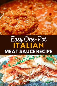 Your family will love this homemade One-Pot Italian Meat Sauce Recipe! Leftovers freeze well for fast weeknight dinners. Toss your favorite pasta in this delicious tomato meat sauce or use it with our lasagna recipe for a delicious Sunday dinner. Meat Sauce Recipes, Tomato Sauce Recipe, Real Food Recipes, Free Recipes, Italian Tomato Sauce, Italian Pasta, Butternut Squash Pasta Sauce, Italian Meats, Vegetable Puree