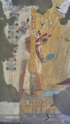 Egypt, Thebes, Luxor, Sheikh 'Abd al-Qurna, Tomb of scribe of recruits Horemheb, mural painting from eighteenth dynasty