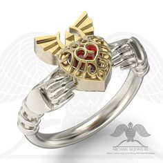 Red Heart Container Claddagh ring Legend Hyrule Crest Zelda Triforce .925 or 14k gold, custommade, handmade ***Made to Order-095