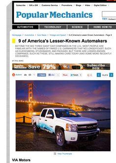 """Popular Mechanics"" magazine features VIA Motors extended-range electric trucks, vans & SUV's! http://www.popularmechanics.com/cars/news/vintage-speed/9-of-americas-lesser-known-automakers-9#slide-9 #popularmechanics #viamotors #electrictrucks #electricvans #electricSUV *For more info, please visit http://www.VIAMotors.com"