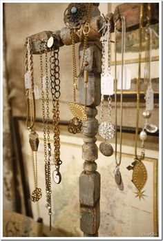 Chippy, salvaged spindles are used to display jewelry.