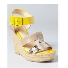 Calvin Klein wedges Yellow, gray, and snakeskin. Worn once. True to size 7.5. Please ask questions. NO TRADES Calvin Klein Shoes Wedges