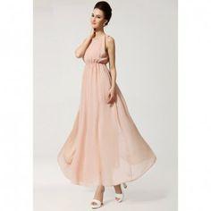 Bohemian Style Solid Color Open Back Scoop Neck Sleeveless Chiffon Women's Maxi-Dress, NUDE, S in Bohemian Dresses   DressLily.com