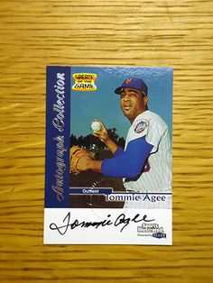 """Tommie Agee: (1968-1972 New York Mets) 1999 Sports Illustrated """"Greats of the Game"""" certified autograph baseball card signed in black sharpie. (From my All-Time Mets Roster collection.)"""