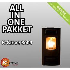 Het K-stove pelletkachel All-in-1 pakket met flinke korting! De K-Stove 8009 #pelletkachel is geschikt voor de middelgrote woning tot ruim 90m², heeft een nominaal vermogen van 4.2-9kW en een autonomie van 16 tot 30 uur! #Fireplace #Fireplaces