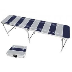Gray & Navy Blue Football Field 8 Foot Portable Folding Tailgate Beer Pong Table from TailgateGiant.com