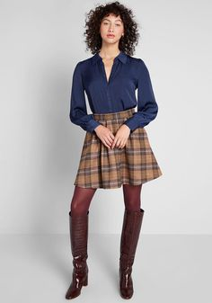 Kick your ensemble imagination into high gear by adding this navy blue blouse into the mix! A feminine offering from our ModCloth namesake label, this. Navy Blue Blouse, Skirts With Boots, Mode Chic, Female Character Design, Geek Chic, Modcloth, Work Wear, Collars, Style Me