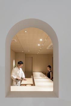 Sushi Isono is a minimal sushi restaurant located in Hokkaido, Japan, designed by Jun Igarashi Architects Cozy Restaurant, Restaurant Design, Restaurant Interiors, Architecture Restaurant, Architecture Interiors, Japanese Interior, Japanese Restaurant Interior, Sushi Restaurants, Bar Seating