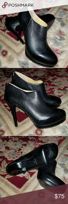"""Nine West Black Shoes High quality black leather """"shooties"""",  sz 8,  Supple inside leather,  polished black out, NEW condition.  Thank you for looking and have a great day 😎💖 Heel 4 1/2"""".  No box. Nine West Shoes Heeled Boots"""