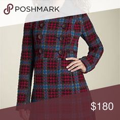 Free people plaid knitted coat Beautiful cozy plaid coat, warm with a cable knit collar. Slit Pockets on each side, has a wonderful tailored look that looks stunning on the figure. Free People Jackets & Coats Pea Coats