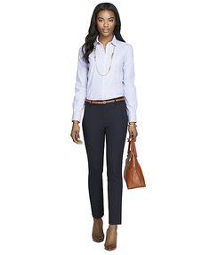 nouveau preppy business casual - light purple striped dress shirt & navy pants