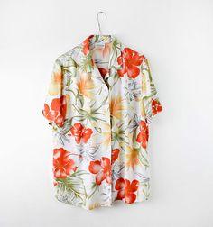 Floral vintage Hawaiian blouse rainbow blouse womens blouse