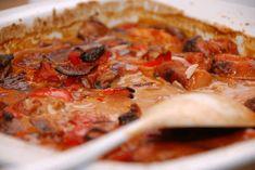 Revelsben i ovn og grill med hjemmelavet barbecue sauce - Madens Verden Pepperoni, Wok, Vegetable Pizza, Quiche, Mashed Potatoes, Recipies, Bacon, Food And Drink, Pasta