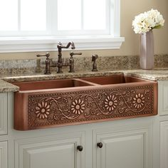 Sunflower Offset Double Well Farmhouse Copper Sink - Antique Copper - Kitchen Sinks - Kitchen - Fox Home Design Kitchen Decor, Copper Farmhouse Sinks, Home, Dream Kitchen, Kitchen Design, Kitchen Fixtures, Kitchen Remodel, Copper Kitchen, Home Decor