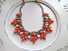 Beaded Bib Statement necklace Rhinestone bubble necklace by CUDAGE, $22.00