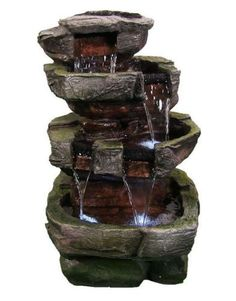 Outdoor Waterfall Fountain LED Lights Tiered Stone Garden Water Fixture Yard New
