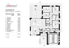 Projekt domu HomeKONCEPT-26 | HomeKONCEPT Facade House, Modern House Design, Building A House, House Plans, New Homes, Floor Plans, How To Plan, House Styles, Plot Ideas