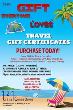 The #perfect #gift No Expiry or Blackout Periods. Can be redeemed for all #travel. Any amount! Contact me to purchase 4164185937 carol@1-2-1travel.net