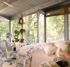ok, get prepared, we talking front yard but if its an a garage apartment with a delightful screen large porch its heavenly. take the large porch and put a bed or day bed out there and add a sitting area, using white on the interior balances the white on the outside railing. if the porch is up, screened and under trees so its got some shade, go ahead sleep in it......