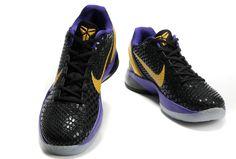 buy popular d2620 7a871 Nike Zoom Kobe 6 (VI) Black Gold Purple Silver