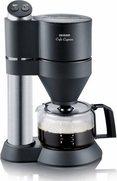 Severin Cafe Caprice Coffee Machine with Brushed Stainless-Steel and Black Finish Serves Up To 8 Cups Retro Appliances, Kitchen Appliances, Coffee Machine Design, Domestic Appliances, Electric House, Kitchen Machine, Pen Design, Coffee Filters, Electrical Appliances