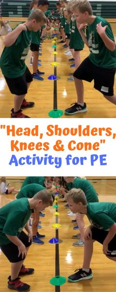 """My name is Mark Roucka and I am a PE teacher at Lincoln Junior High School in Naperville, IL. """"Head, Shoulders, Knees, Cone"""" is an activity I have done numerous times with my classes and received a number of positive … Read Physical Activities For Toddlers, Physical Education Activities, Gym Games For Kids, Elementary Physical Education, Pe Activities, Exercise For Kids, Continuing Education, Movement Activities, Group Kids Games"""