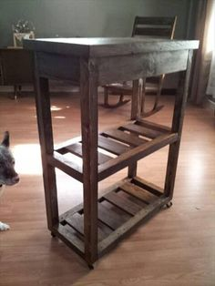 pallet kitchen cart with #shelves