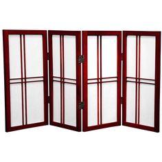 Oriental Furniture 2 ft. Tall Desktop Double Cross Shoji Screen - 4 Panel - Rosewood, Red