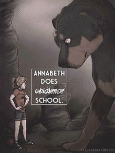 Annabeth Does Obedience School- Percy Jackson an the Olympians: The Lightning Thief Percy Jackson Fanart, Arte Percy Jackson, Percy Jackson Books, Percy Jackson Lightning Thief, The Lightning Thief, Solangelo, Percabeth, Percy And Annabeth, Annabeth Chase