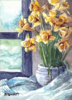 ACEO SPRING2019 Original Spring Bouquet floral daffodils flowers still life #Impressionism