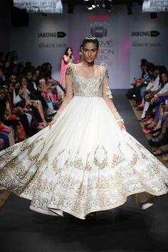 Anushree Reddy Lakme Fashion Week Summer Resort 2014 white ivory gold gown net anarkali