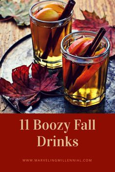 11 easy to make boozy fall drinks filled with apple cider, cinnamon, pumpkin spice, nutmeg and booze!