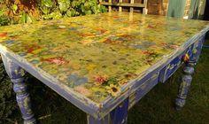 Table Top Transformation....napkin Decoupage DIY Tutorial