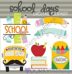 Back to School Clipart -Personal and Limited Commercial Use- School Days Clipart, crayons, pencil, bustache, Classroom Clip Art Back To School Images, Back To School Clipart, Going Back To School, Teacher Doors, Teacher Cards, Teacher Shirts, Teacher Stuff, Classroom Clipart, Teacher Notebook