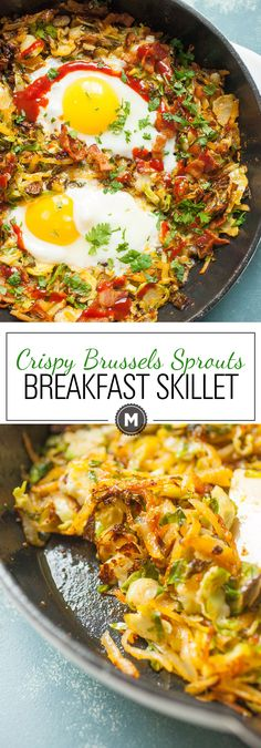 Crispy Brussels Sprout Breakfast Skillet: This simple breakfast skillet has some amazing fall flavors and is my new favorite take on hash. Dig in. | macheesmo.com