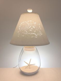 Handmade Cut & Pierced Paper Lampshades & Lamps by BarbaraGailsLamps - Dekoration Fillable Lamp, Clear Glass Lamps, Diy Luminaire, Seashell Projects, Shell Lamp, Paper Lampshade, Beach Room, Beach House Decor, Lamp Shades