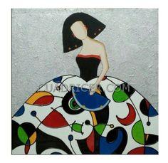 Cuadro Menina con abanico azul 269 en estilo de colores Miró para decoración personal y especial de las estancias del hogar